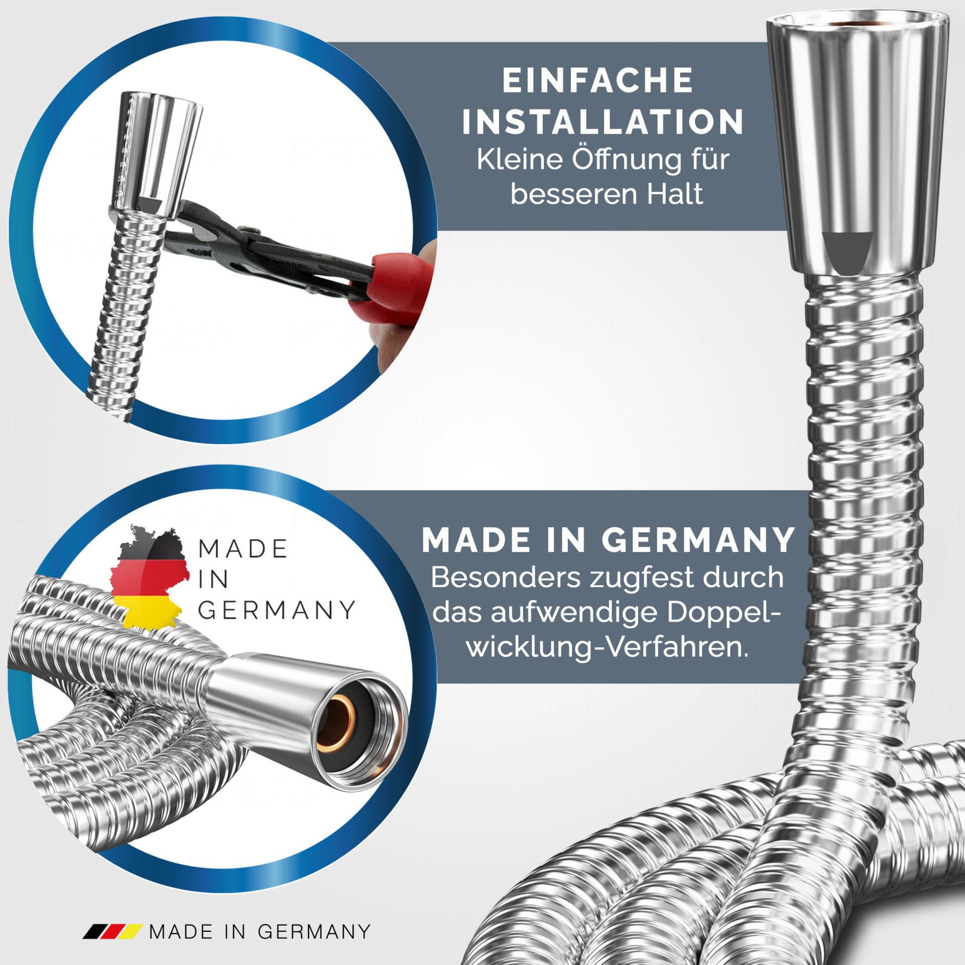 Prisma Edelstahl Brauseschlauch USP 2 - PRISMA Brauseschlauch aus Edelstahl • Made In Germany
